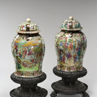 A pair of Canton temple jars