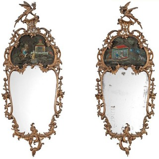Pair of exceptional Victorian giltwood English Chinese Chippendale styleperiod mirrors