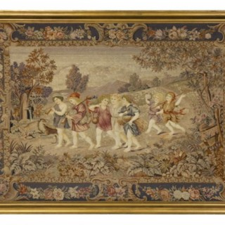 An attractive late 19th century needlework panel