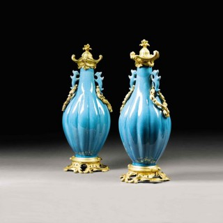 A pair of 18th century Chinese vases, with 19th century mounts