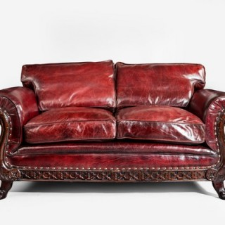 A two seater leather sofa