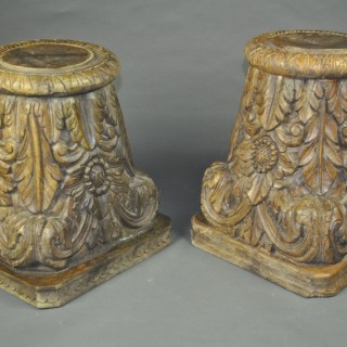 Pair carved Wood Capitals