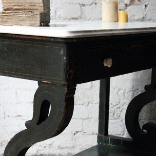 A Pretty North German Provincial Painted & White Marble Topped Washstand / Hall Table c.1860