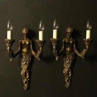 English Art Nouveau Bronze Wall Lights