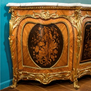 A Victorian marquetry side cabinet in the French taste