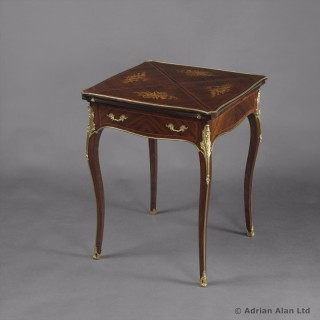 Louis XV Style Gilt-bronze Mounted Marquetry Inlaid Envelope Card Table