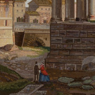 A superb Italian micro mosaic of Roman ruins, by L Barberi