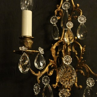 French Gilded Bronze Twin Arm Wall Sconces
