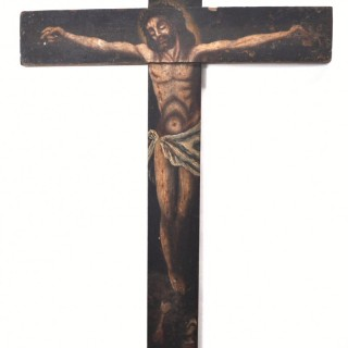 Painted wooden crucifix, Spanish c.1800