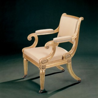 Early 19th Century Regency Period Carved Giltwood Armchair