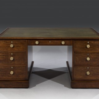 Late George III Period Plum Pudding Mahogany Partner's Pedestal Desk