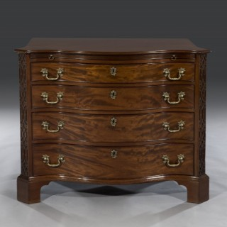 George III Period Mahogany Serpentine-Fronted Blind Fretted Chest of Drawers
