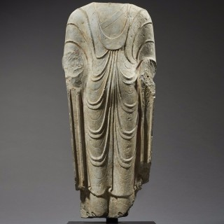 Ancient Torso of a Standing Buddha, China, Qi Dynasty, c.550 AD