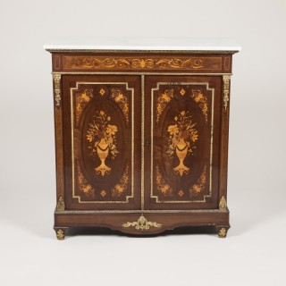LOUIS VXI STYLE MARBLE TOP FLORAL MARQUETRY CABINET