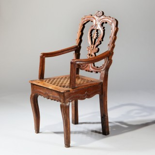 Charming Provincial Rustic French Armchair Fauteuil