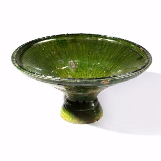 Large Scale Green Glazed North African Dish