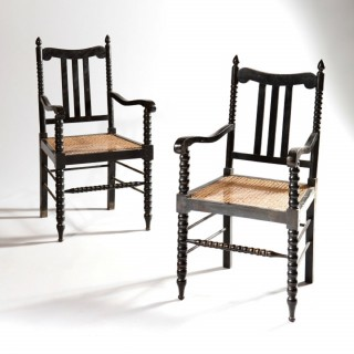 Three Pairs Of Bobbin Turned Anglo Indian Ebonised Armchairs
