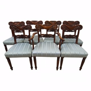 Set of 7 George IV Mahogany Dining Chairs