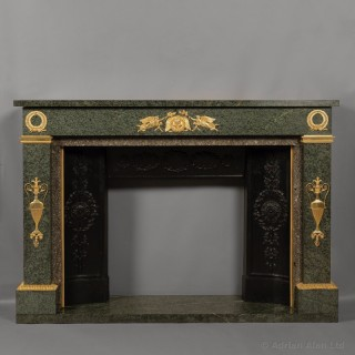 Empire Style Gilt-Bronze Mounted Green Granite Fireplace