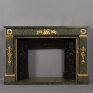 Empire Style Gilt-Bronze Mounted Green Granite Fireplace