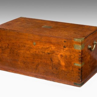 Early 19th Century brass bound teak campaign trunk