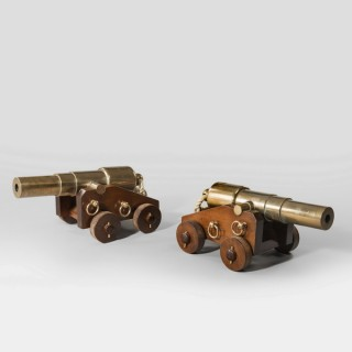 A pair of 4 stage bronze 18'' signal cannon.