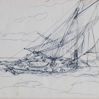 A set of three sketches on post cards by Montague Dawson RA