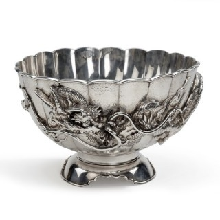 A large Meiji period silver footed bowl