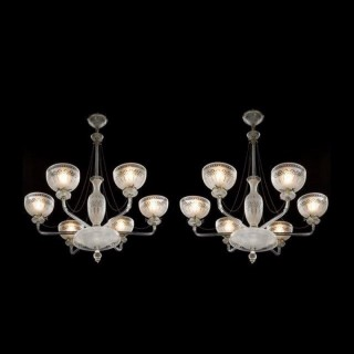 A pair of six-light frosted and etched glass chandelier by Osler.