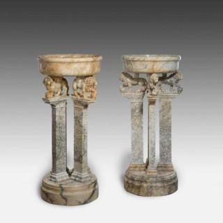 Magnificent pair of Italian alabaster jardinieres
