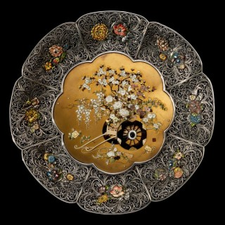 A superb pair of Meiji period shibayama and silver filigree dishes