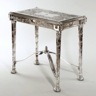 A RARE AND UNUSUAL VICTORIAN SILVER-PLATE SIDE TABLE