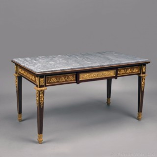 A Louis XVI Style Mahogany Low Table with a Grey Marble Top