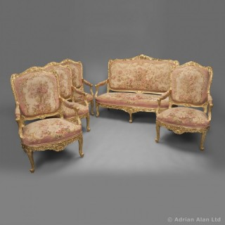 A Very Fine Louis XV Style Carved Giltwood Aubusson Salon Suite