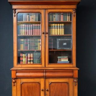 Victorian Oak and Mahogany Library Bookcase