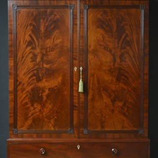 Regency Mahogany Linen Press - Wardrobe