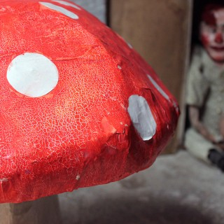An Amusing Stylised Mid-20thC Painted Papier-Mache Model of a Fly Agaric Toadstool