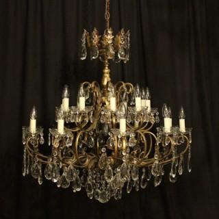 Italian Gilded 21 Light Antique Chandelier