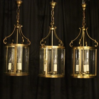 French Set Of Three Gilded Antique Lanterns