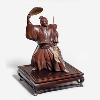 A Japanese bronze of a Samurai
