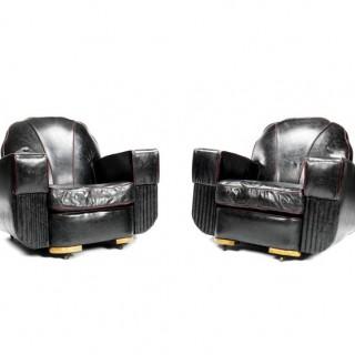 A pair of Art Deco club armchairs