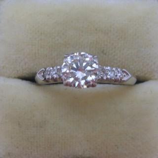 Platinum Square Set Diamond Solitaire Engagement Ring