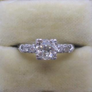 Art Deco Square Set Diamond Solitaire Ring