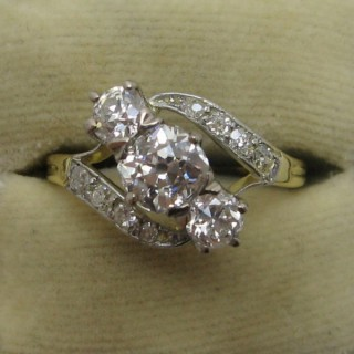Three Stone Art Deco Diamond Cross Over Ring