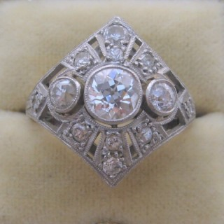 Art Deco Three Stone Diamond Panel Ring