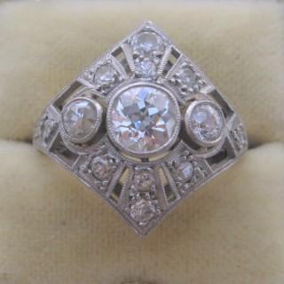 Art Deco Three Stone Diamond Panel Ring