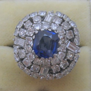 Sapphire and Diamond Vintage Cluster Ring