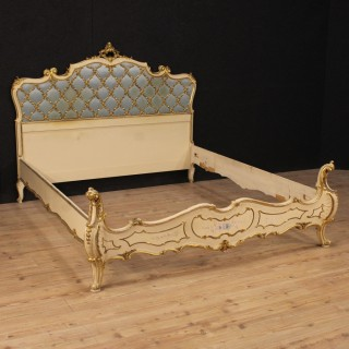 20th Century Italian Lacquered And Gilt Double Bed