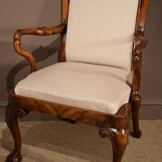 A Late 19th Century Carved Walnut Elbow Chair