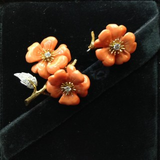 BOUCHERON CORAL AND DIAMOND JABOT PIN